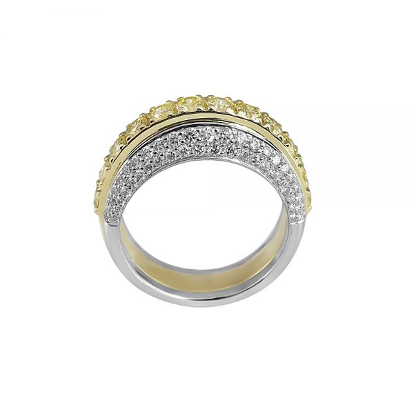 Andrea Fancy Yellow Diamond Two Tone Band Ring-1904