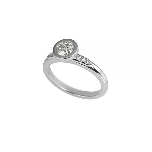 Caity Bezel Set Platinum and Diamond Engagement Ring -1920