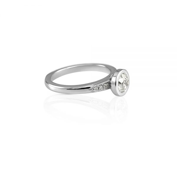 Caity Bezel Set Platinum and Diamond Engagement Ring -1919