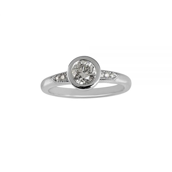 Caity Bezel Set Platinum and Diamond Engagement Ring -0