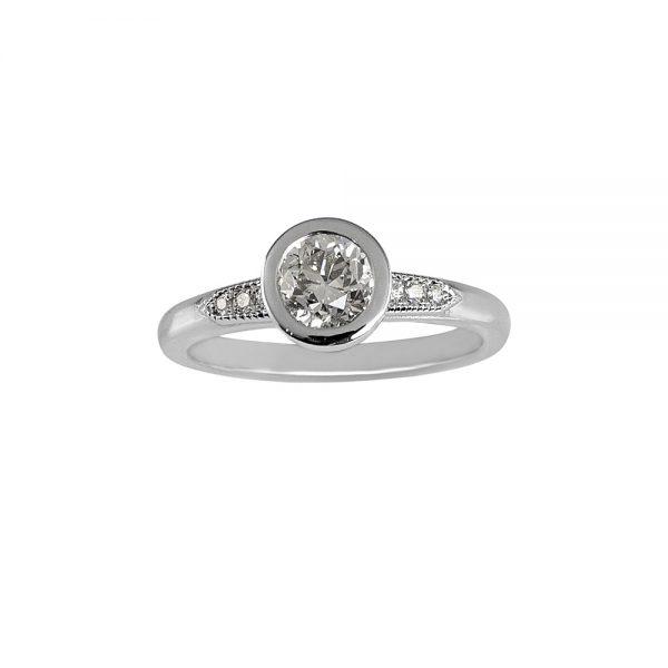 Caity Bezel Set Platinum and Diamond Engagement Ring -0