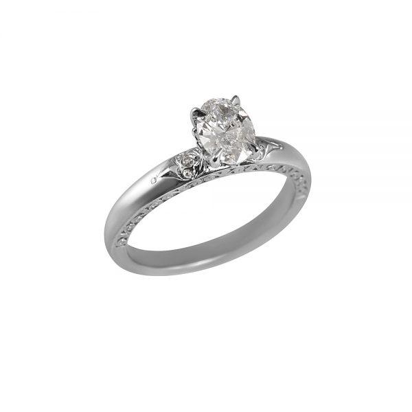 Kathleen Platinum Oval Diamond Engagement Ring-1930