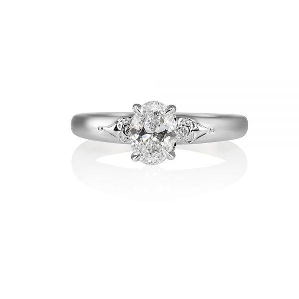 Kathleen Platinum Oval Diamond Engagement Ring-0