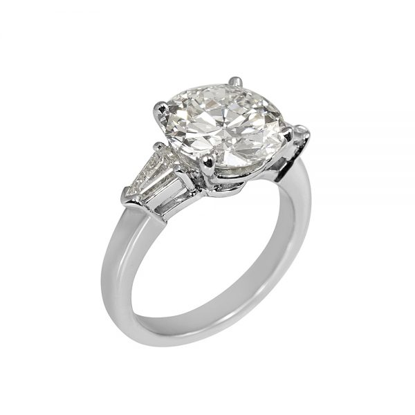 Katie Old European Cut Diamond Threestone Engagement Ring with Tapered Bullets-1938
