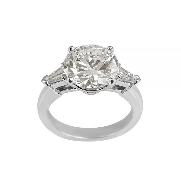 Katie Old European Cut Diamond Threestone Engagement Ring with Tapered Bullets-1939