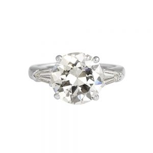 Katie Old European Cut Diamond Threestone Engagement Ring with Tapered Bullets-0