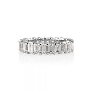 Lisa Platinum Emerald Cut Diamond Eternity Wedding Band-0