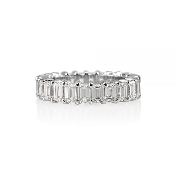 Lisa Platinum Emerald Cut Diamond Eternity Wedding Band-0