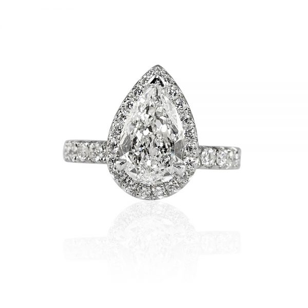 Maude Pear Cut Diamond and Halo Engagement Ring-0