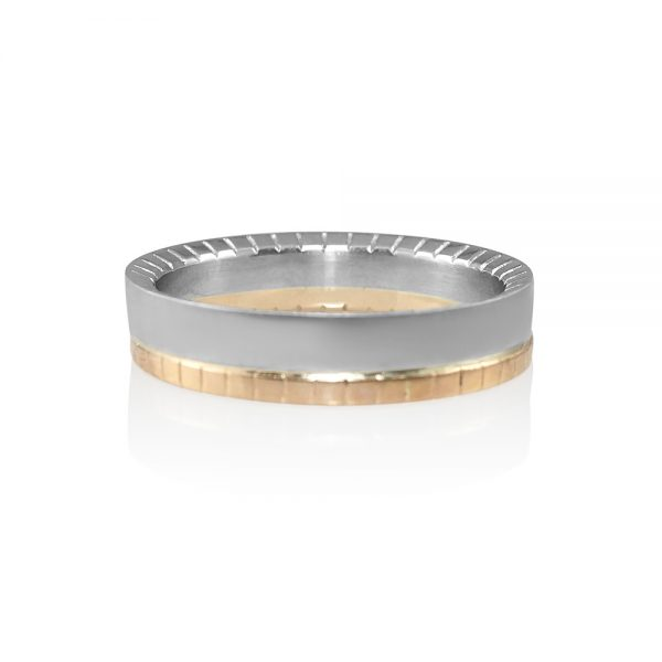 David Rose Gold and Platinum Mens Wedding Band-0