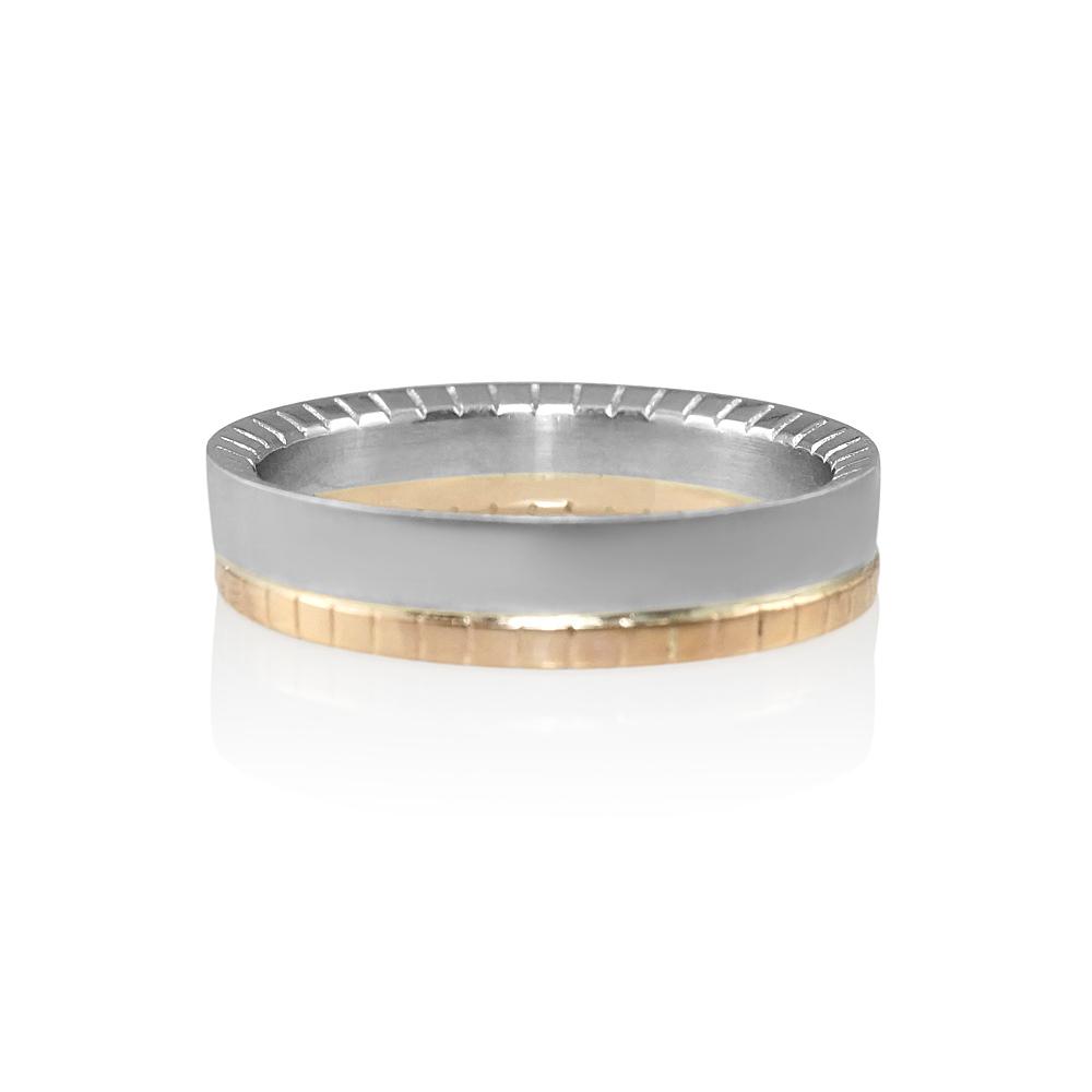 David Rose Gold And Platinum Mens Wedding Band 0