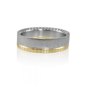 Randy Yellow Gold and Platinum Mens Wedding Band-0
