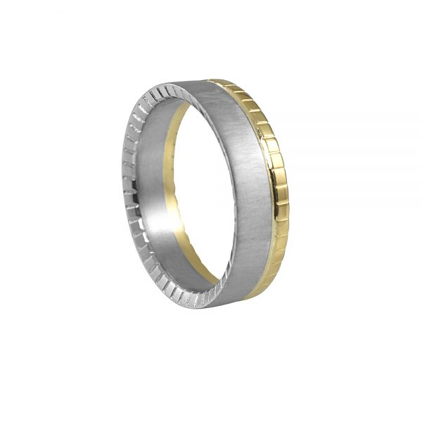 Randy Yellow Gold and Platinum Mens Wedding Band-1925
