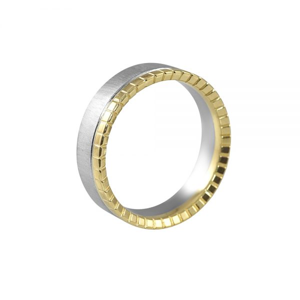 Randy Yellow Gold and Platinum Mens Wedding Band-1924