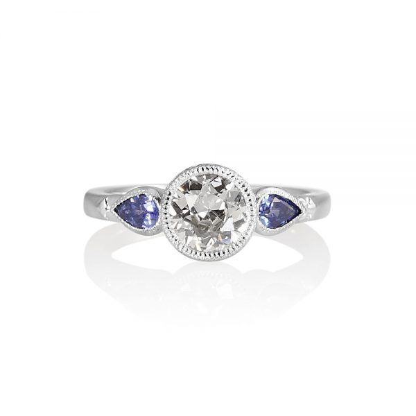 Bruna Old European Diamond And Sapphire Engagement Ring-0