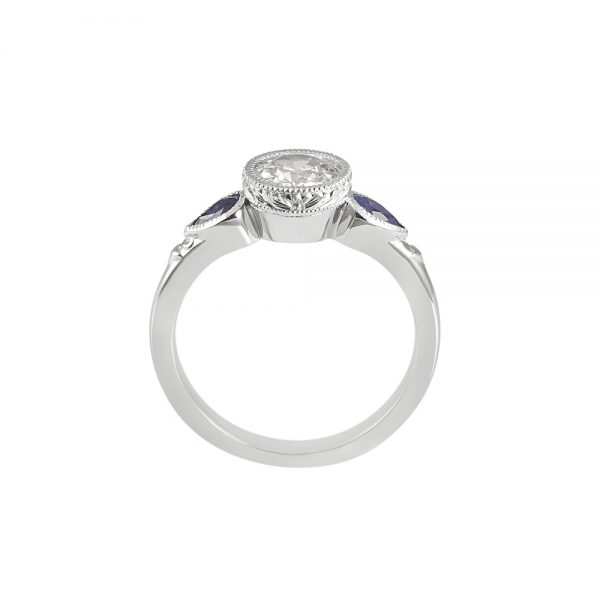 Bruna Old European Diamond And Sapphire Engagement Ring-2037