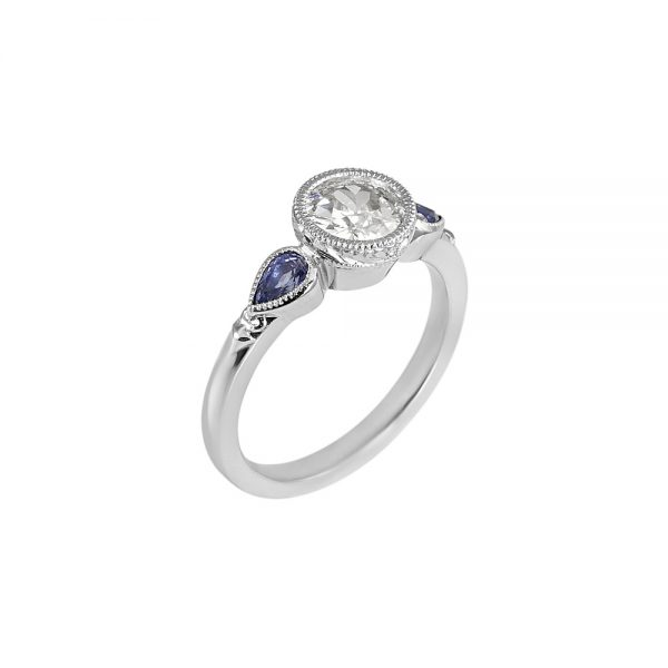 Bruna Old European Diamond And Sapphire Engagement Ring-2038