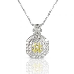 Fancy Yellow Double Halo Pendant-0