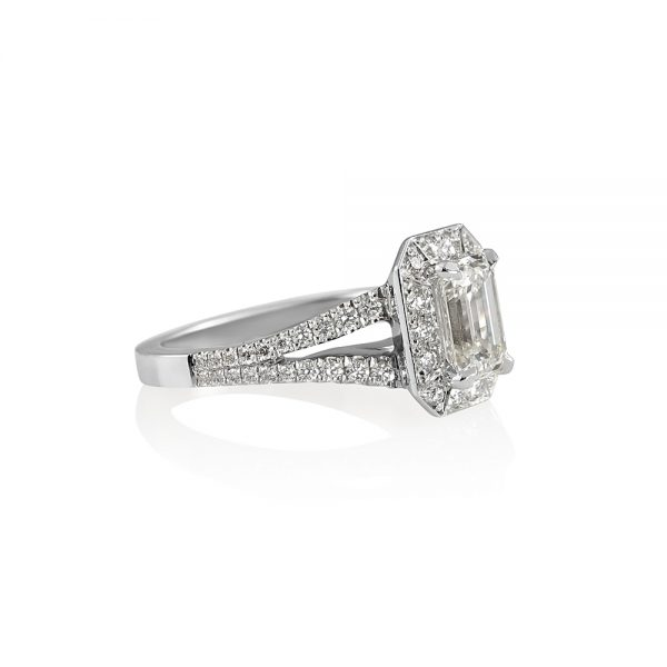 Katie Emerald Cut Diamond with Halo and Split Shank Ring-1950