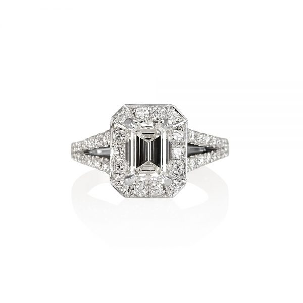 Katie Emerald Cut Diamond with Halo and Split Shank Ring-0