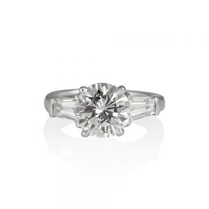 Lara Round With Tapered baguettes Engagement Ring-0