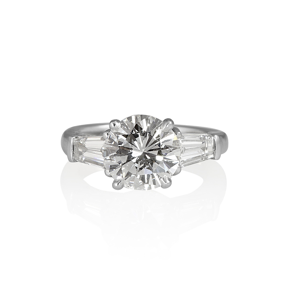 Lara Round With Tapered baguettes Engagement Ring ...