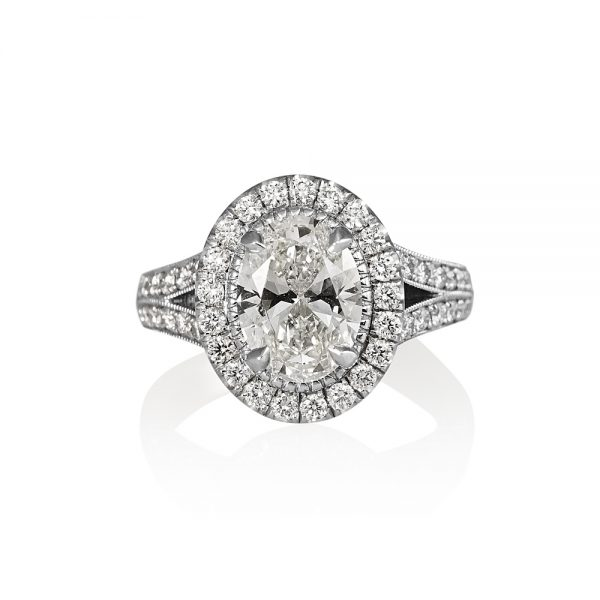 Sara Oval Diamond Halo and Split Shank Engagement Ring-0