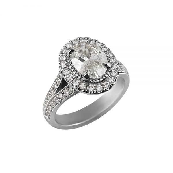 Sara Oval Diamond Halo and Split Shank Engagement Ring-1944
