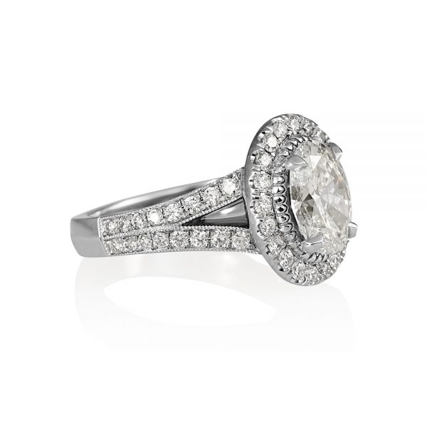 Sara Oval Diamond Halo and Split Shank Engagement Ring-1945