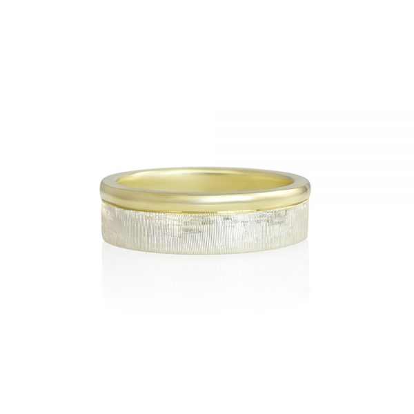 Alex Men's Silver and Green Gold Wedding Band-0