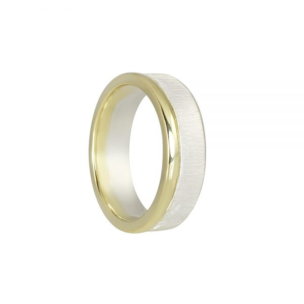 Alex Men's Silver and Green Gold Wedding Band-1966