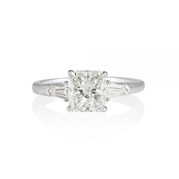 Lindsey Radiant Cut and Tapered Bullets Three Stone Ring-0