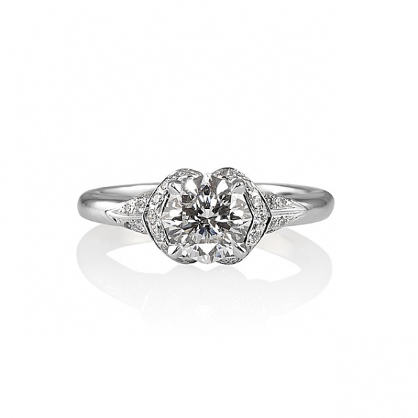 Octagonal Diamond Flower Engagement Ring