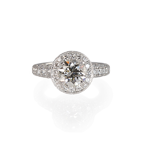 Halo Engagement Ring With Diamond Pavé Band