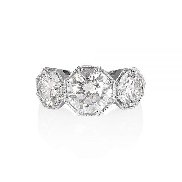 Annah Vintage inspired Three Stone Engagement Ring by Cynthia Britt-0
