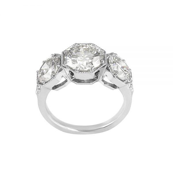 Annah Vintage inspired Three Stone Engagement Ring by Cynthia Britt-2021