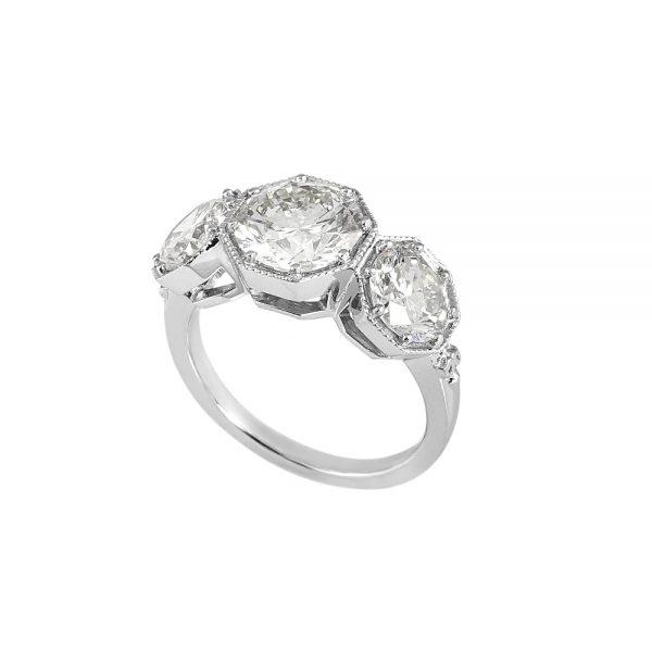 Annah Vintage inspired Three Stone Engagement Ring by Cynthia Britt-2022