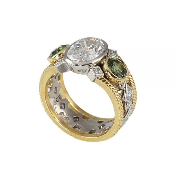 Diamond and Tourmaline Two Tone Engagement Ring for Marie-2027