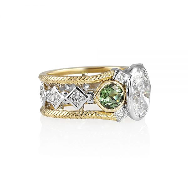 Diamond and Tourmaline Two Tone Engagement Ring for Marie-2028