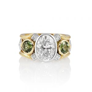 Diamond and Tourmaline Two Tone Engagement Ring for Marie-0