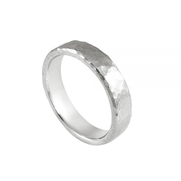 David Hammered Platinum Men's Wedding Ring-2000