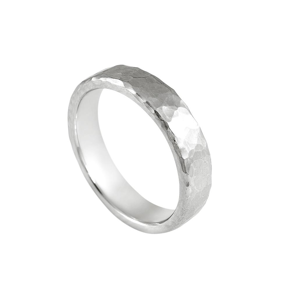 Cynthia Britt David Hammered Platinum Mens Wedding Ring