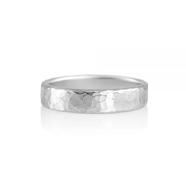 David Hammered Platinum Men's Wedding Ring-0