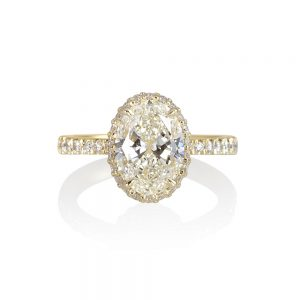 CJ Oval Diamond Engagement Ring With Diamond Collar™-0