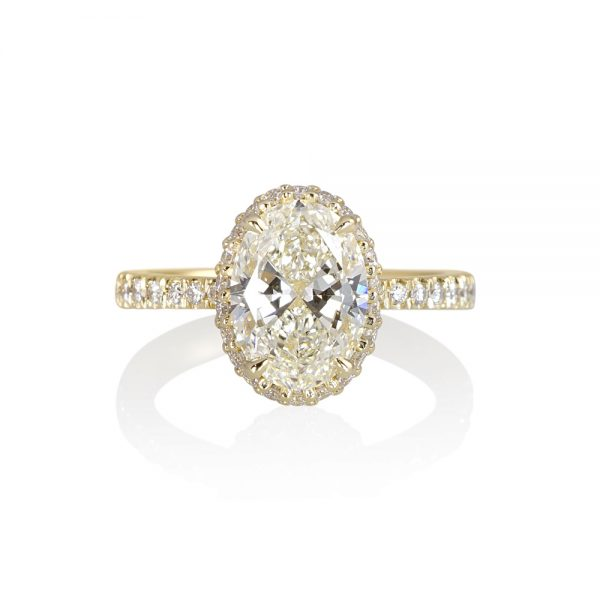 CJ Oval Diamond Engagement Ring With Diamond Collar™-0
