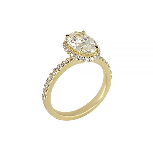 CJ Oval Diamond Engagement Ring With Diamond Collar™-2046