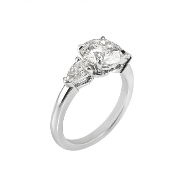 Lissy Round Brilliant Cut Diamond Three Stone Engagement Ring-2043