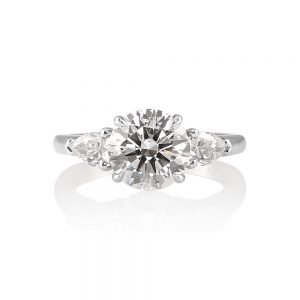Lissy Round Brilliant Cut Diamond Three Stone Engagement Ring-0