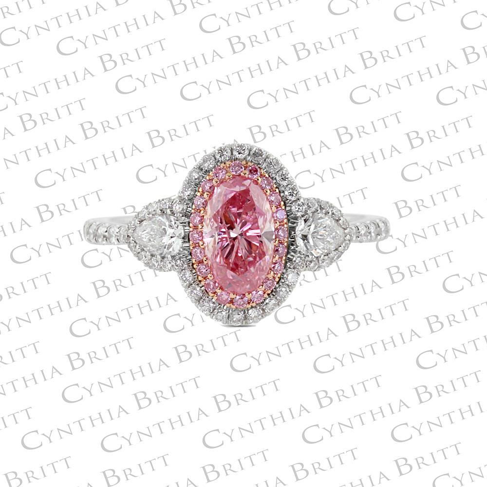 Argyle Pink Diamond and Colorless Diamond Ring-0