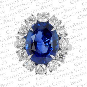 Sapphire and Diamond Princess Diana Ring-0